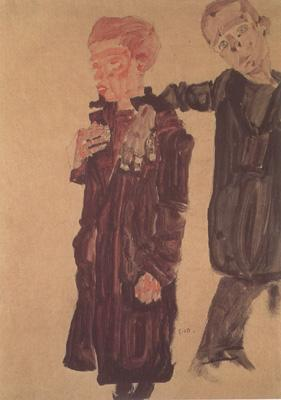 Egon Schiele Two Guttersnipes (mk12) oil painting image