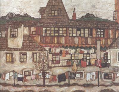 Egon Schiele House with Drying Laundry (mk12) oil painting image