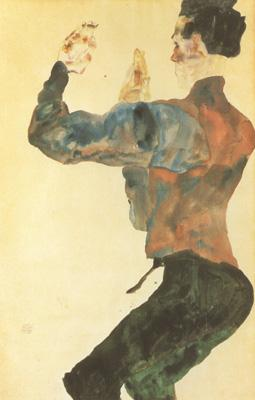 Egon Schiele Self-Portrait with Raised Arms,Back View (mk12) oil painting image