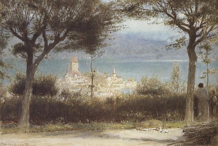 Albert goodwin,r.w.s The Town of Spiez on Lake Thun,Switzerland (mk37) oil painting image