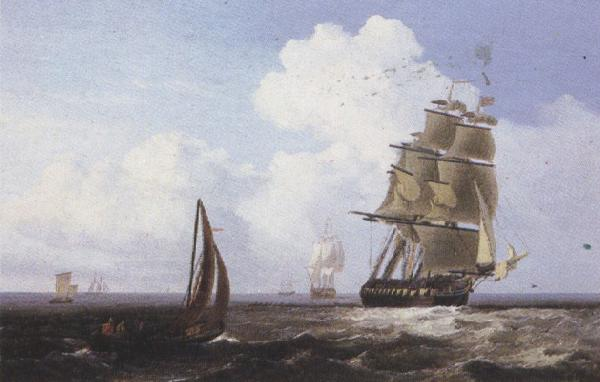 Attributed to john wilson carmichael Shipping off Scarborough (mk37) oil painting image