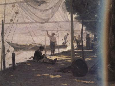 Francois Bocion Fishermen Mending Their Fishing Nets (nn02) oil painting image
