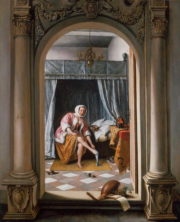 Jan Steen A Woman at her Toilet (mk25) oil painting picture