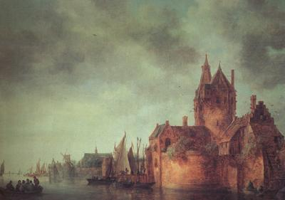 Jan van  Goyen A Castle by a River with Shipping at a Quay (nn03) oil painting image