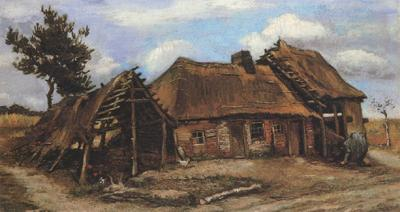Vincent Van Gogh Cottage with Decrepit Barn and Stooping Woman (nn04) oil painting image