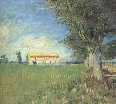 Vincent Van Gogh Farmhous in a Wheat Field (nn04) oil painting image