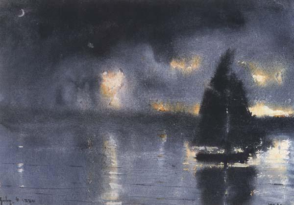 Winslow Homer Sailboat and Fourth of July Fireworks (mk44) oil painting image