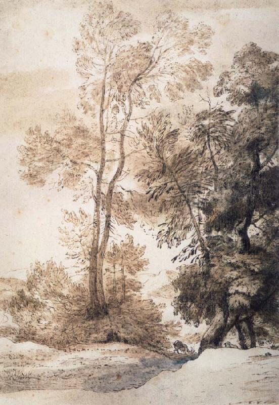 John Constable Landscape with trees and deer,after Claude july 1825 oil painting image