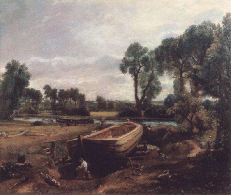 John Constable Boat-building near Flatford Mill oil painting image